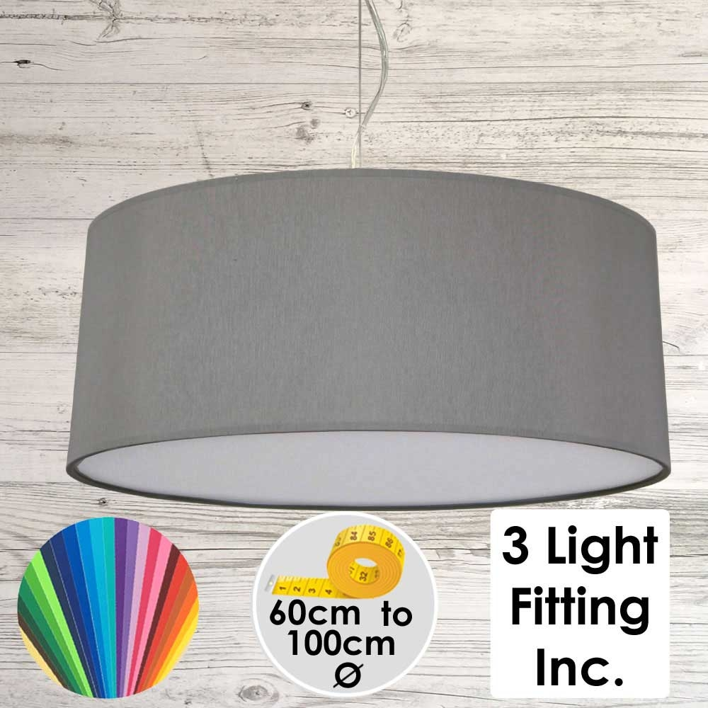 Grey Drum Ceiling Light
